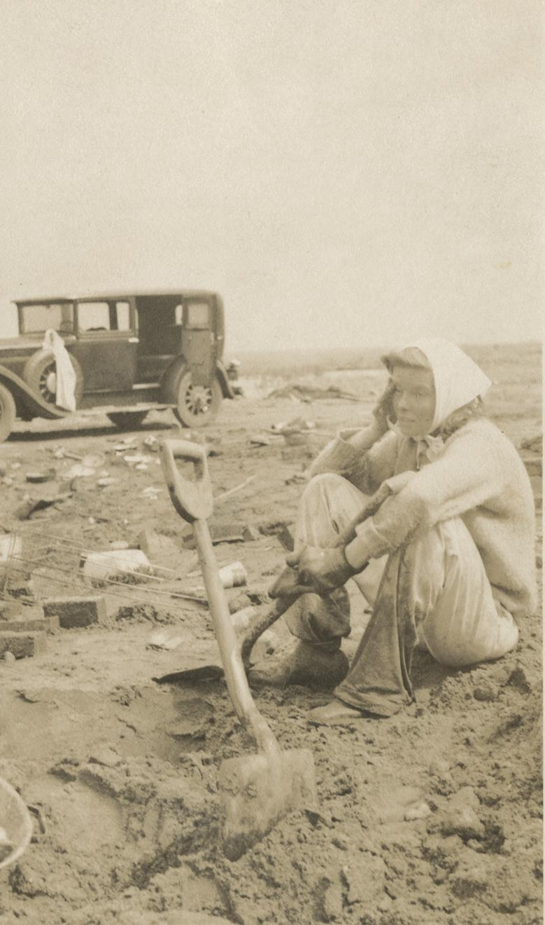 Katharine Hepburn sits amid the rubble left after the 1938 hurricane at Fenwick.