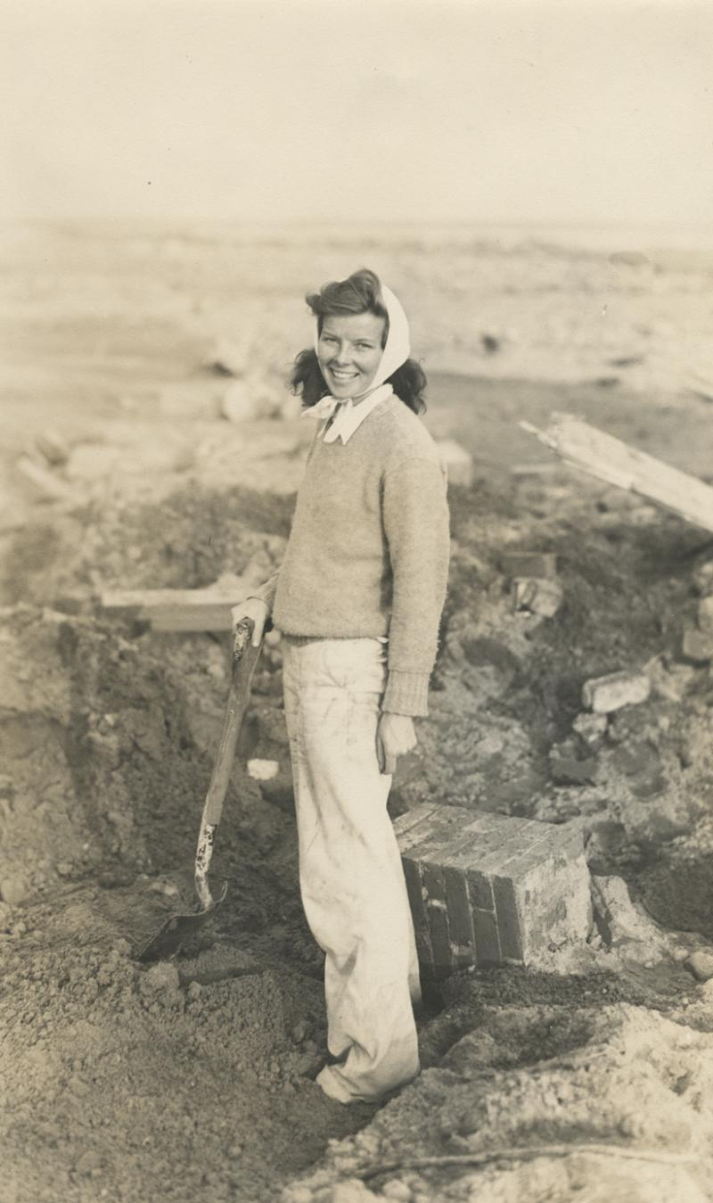 Katharine Hepburn surveys the devastation of the 1938 hurricane on the site of her family's summer home in Fenwick, CT.