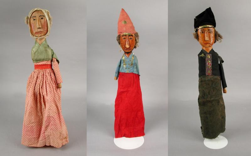 Hand Puppets.  Owned by Albert Walker, 1858.   Several of these puppets, used by Walker in a puppet show, are currently on view at CHS.