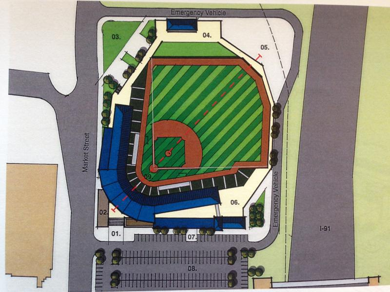 A site adjacent to I-91 for a ballpark that the city is no longer considering.