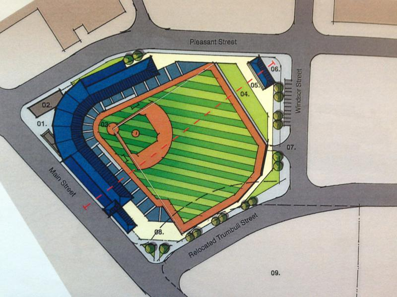 The chosen site for a Hartford ballpark, at Trumbull and Main Streets.