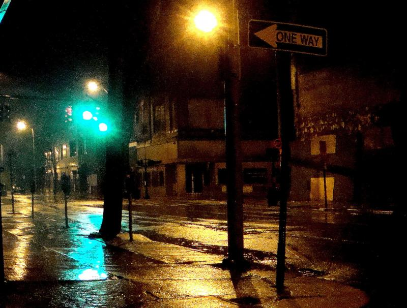 A Bridgeport street at night.