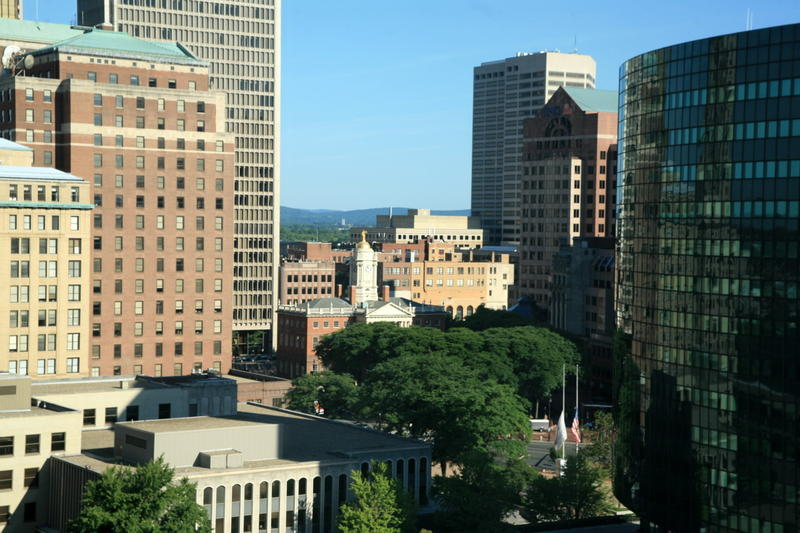 Downtown Hartford as seen through a hotel room window.