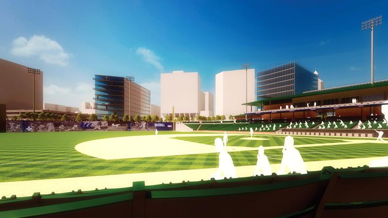 A rendering for a proposed baseball stadium in Hartford for the Rock Cats.