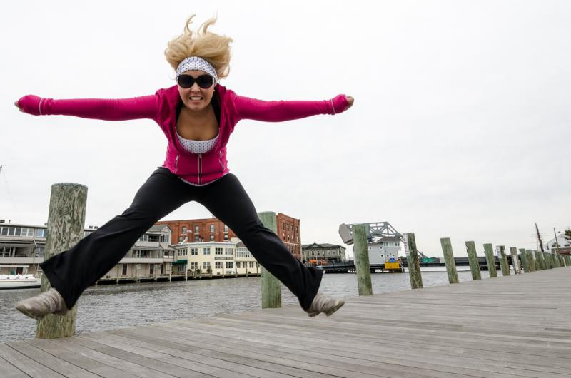 Jumping for joy in Mystic.