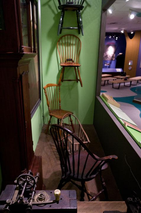 Windsor furniture on display in Making Connecticut, an exhibit about 400 years of Connecticut history.