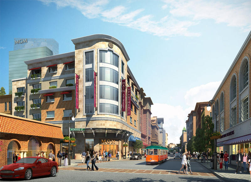 A rendering of the proposed MGM casino in Springfield, showing the intersection of Main and Howard Streets.