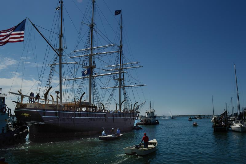 After months of preparation, the oldest wooden whaling ship in the world, the Charles W. Morgan, began her 38th voyage as she is towed down the Mystic River on her way to New London.
