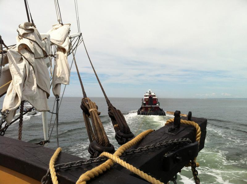 On board the Charles W. Morgan as it's being towed out to Long Island Sound.