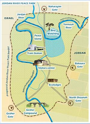 A map of the proposed Jordan Peace Park