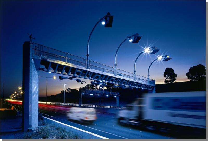 A picture of the high-speed tolling system on CityLink, a network of tolled urban Freeways in Melbourne, Australia.