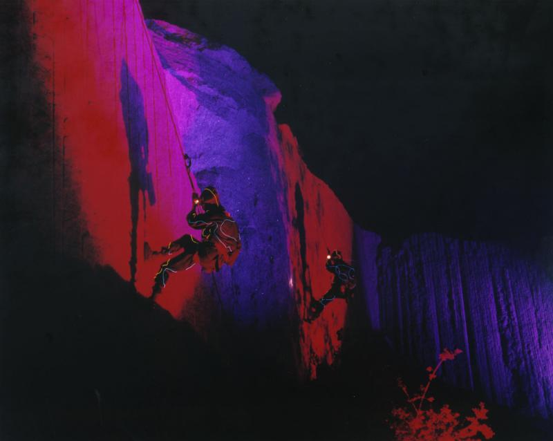 "Rappellers performing in the Stony Creek Quarry for ""Terra Lumina"" in 2001."