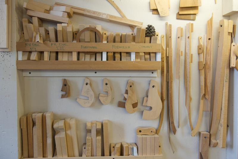 Tools and wooden pieces in the workshop of Zuckermann Harpsichord International.