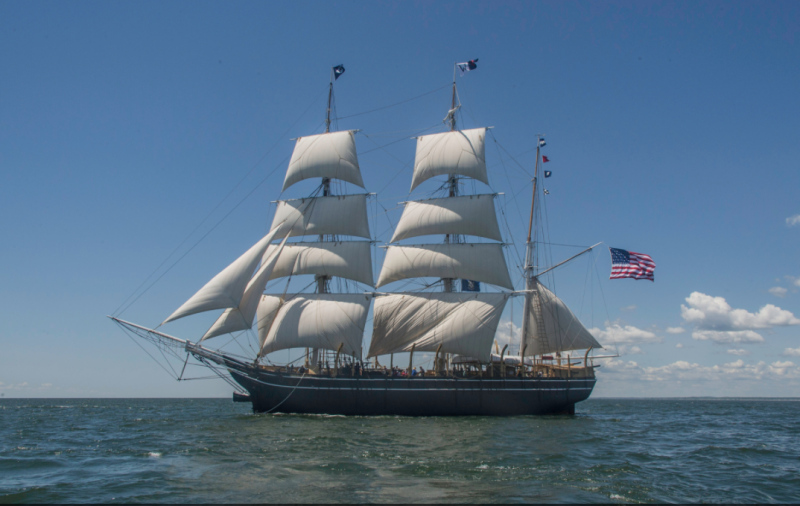 The Charles W. Morgan sailing for the first time in almost a century off New London.