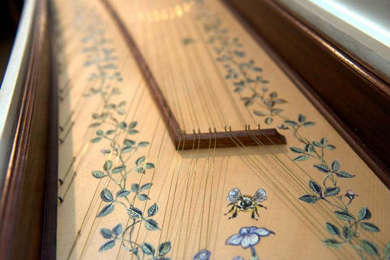 Hand painted sound board in a custom built Zuckermann harpsichord.