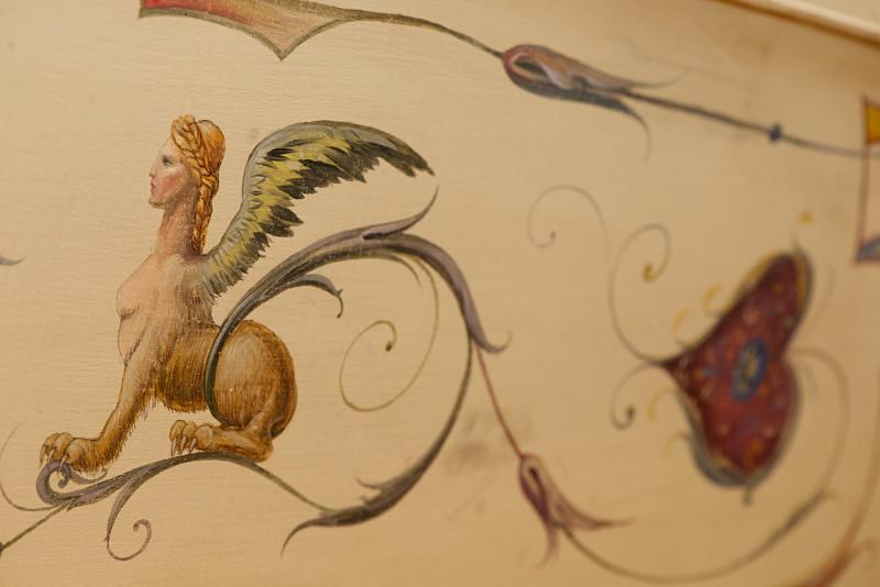 Typical antique Italian decorations painted on a harpsichord by artist-in-residence Tatyana Nivina