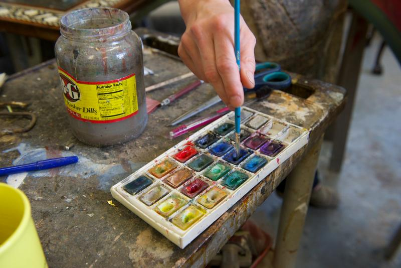 Paints used by Zuckermann Harpsichords International artist-in-residence Tatyana Nivina.