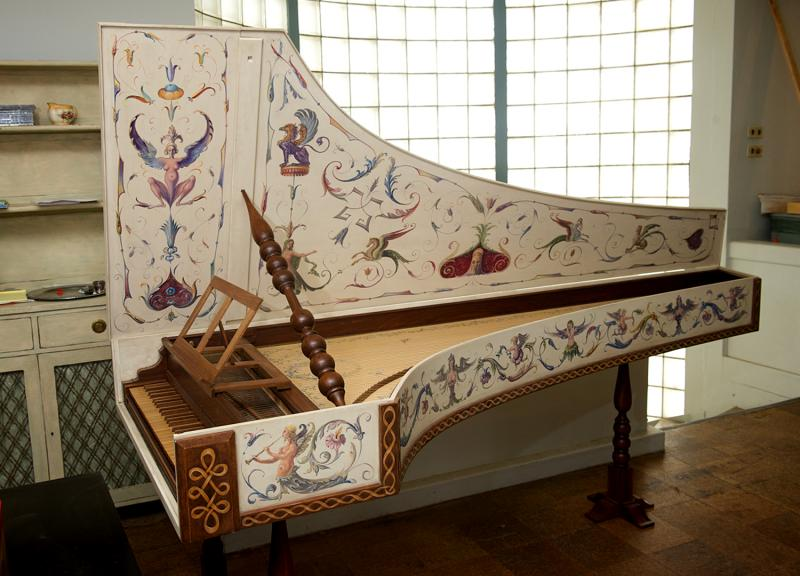 An Italian style harpsichord hand painted by Zuckermann Harpsichords International artist-in-residence Tatyana Nivina