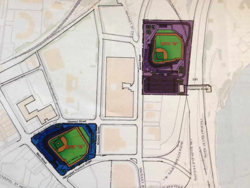 Two possible locations for a Rock Cats stadium in Hartford, as proposed by Pendulum.