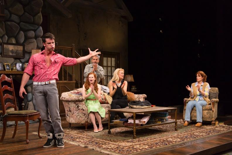 The cast of Vanya and Sonia and Masha and Spike. (from l. to r.) David Gregory (Spike), Andrea Lynn Green (Nina), Mark Nelson (Vanya), Leslie Hendrix (Masha) and Caryn West (Sonia).