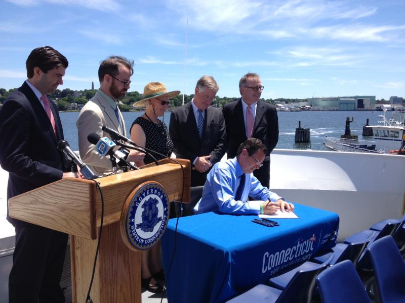 Gov. Dannel Malloy signs the Connecticut Port Authority legislation in New London