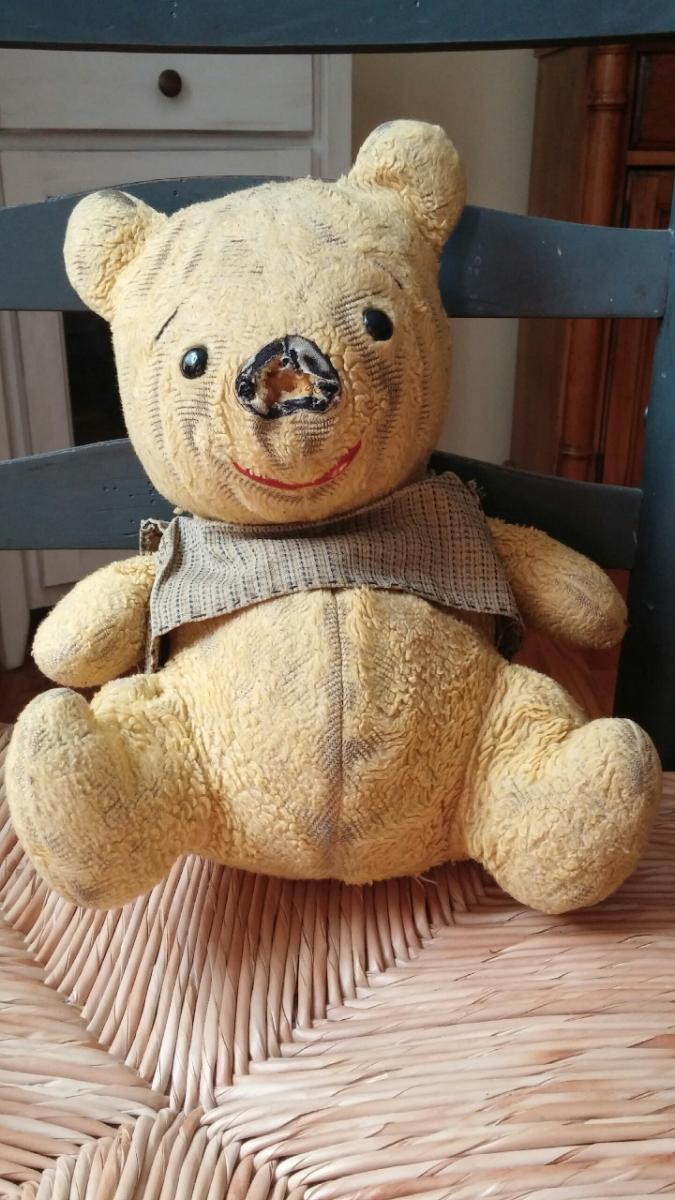 "Nichole Lehman's Pooh is 29 years old. Pooh originally belonged to her older sister, but Nicole didn't like the way Pooh the bear was treated, so she ""rescued"" him."