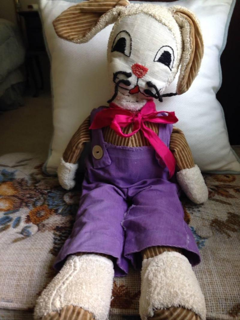 "Pat Smith received Bunny for her first Easter in 1948. Every Easter, her mom would mend him and put a new ribbon around his neck. She says Bunny represents ""a story of a lifetime of love."""
