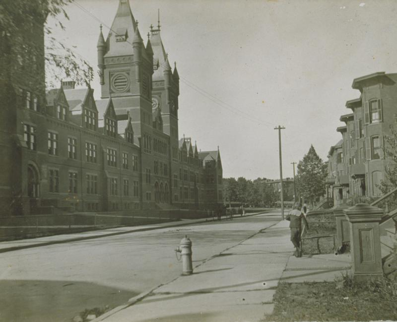 Hartford Public High School, photograph, 1901.  The school as it would have appeared when Louise Stutz taught there.