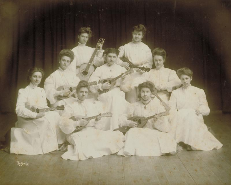 Girls Mandolin Club, Hartford Public High School, photograph, 1905.  A student grouping typical of the time period.