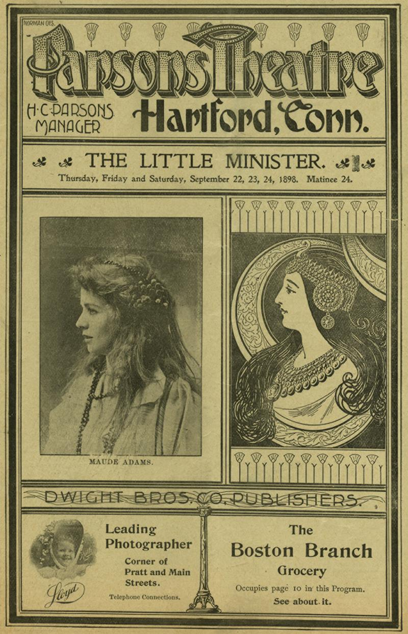 "Playbill for ""The Little Minister"" starring Maude Adams."