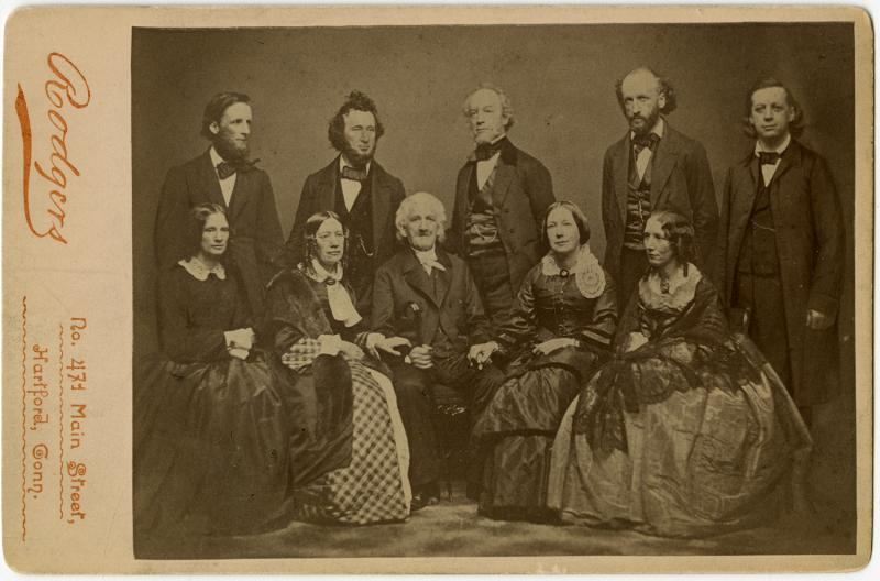The Beecher Family.  Photograph by Rodgers based on an original by Mathew Brady, 1860s. The family was split on the question of Henry Ward Beecher's guilt or innocence.