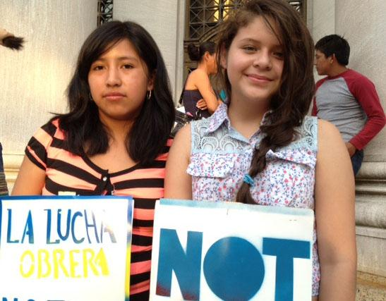 Anabelia Diaz, 17, at left, and Hazel Menecos Jimenez, 13.