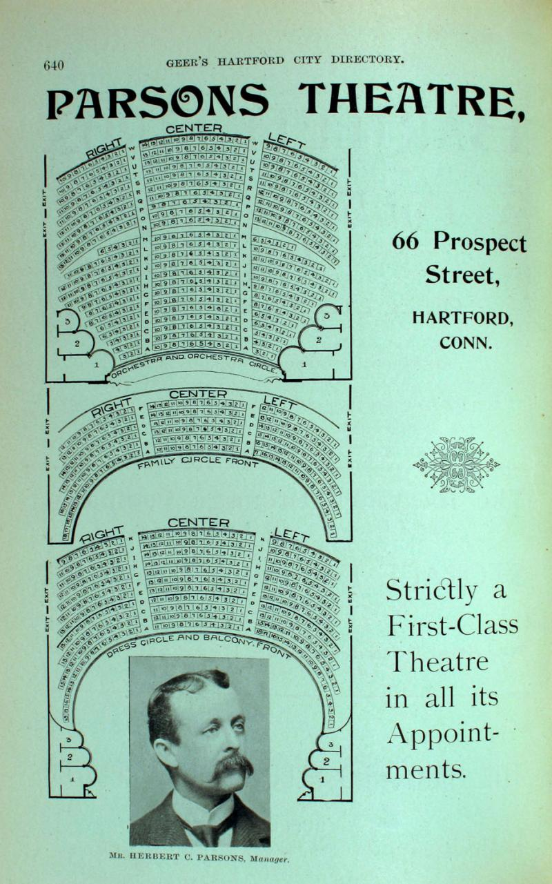 Advertisement for Parsons Theatre circa 1901.