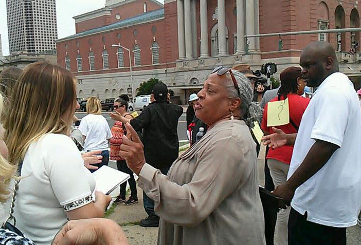 Education activist Elizabeth Horton Sheff joined the rally outside the state Department of Education.