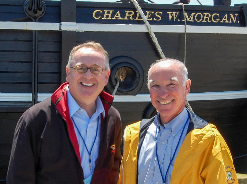 On May 17, State Sen. Andrew Maynard, left, stood with Congressman Joe Courtney at the Charles W. Morgan, boarding the ship for its first voyage in nearly 100 years. Maynard secured state bonding for a signficant share of the ship's restoration.