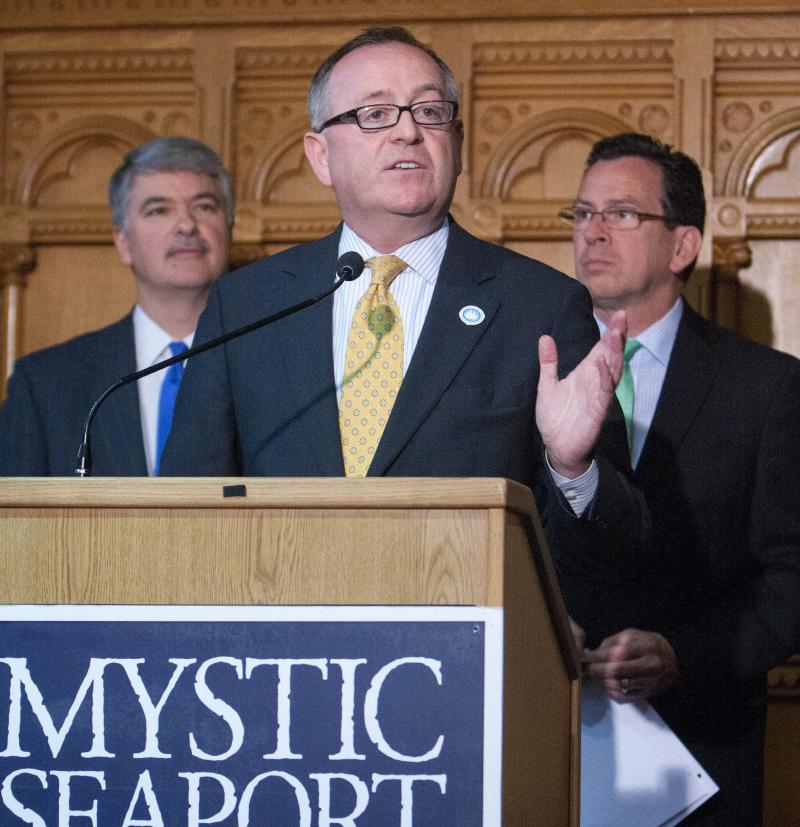 "In 2012, Maynard, center, joined Senate President Don Williams, left, and Governor Dannel Malloy to declare 2013-2014 the ""Year of the Charles W. Morgan"" in Connecticut."