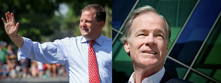 John McKinney, at left, and Tom Foley, at right, Republican candidates for Connecticut governor, as portrayed on their campaign websites.