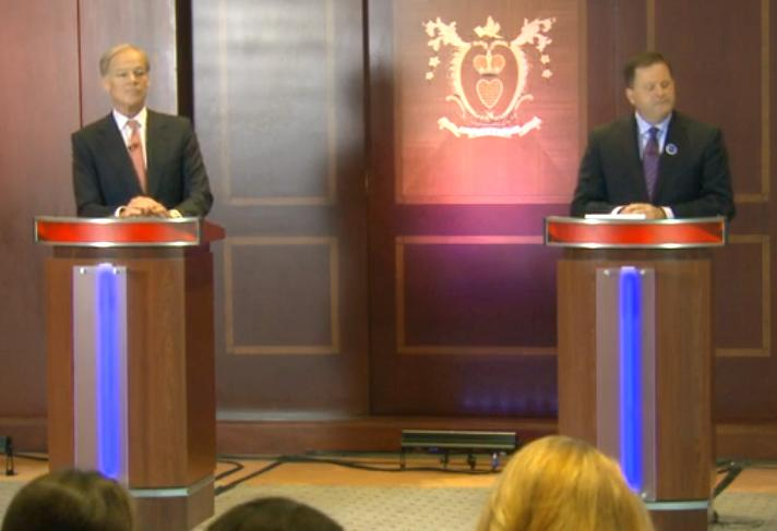Tom Foley, at left, and John McKinney, at right, during their Republican primary debate on July 17.