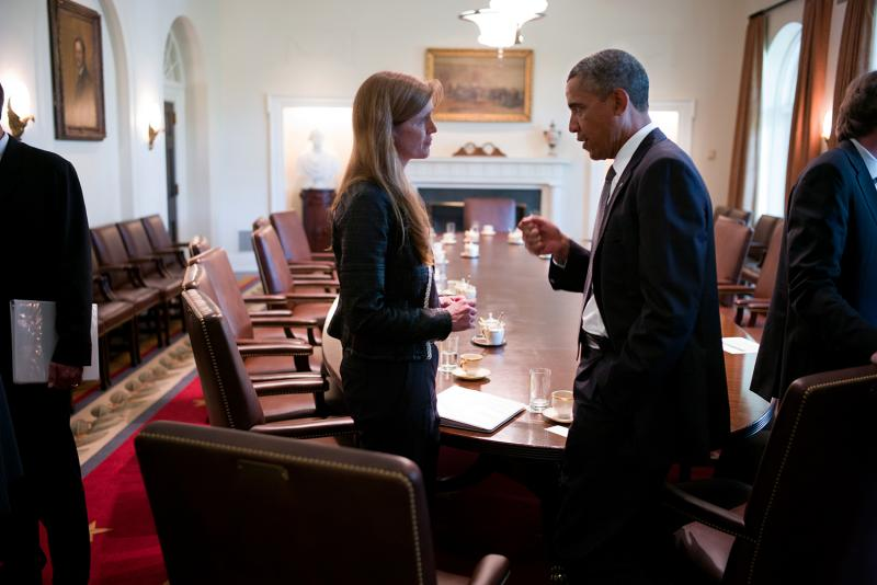 President Obama speaks with U.S. Ambassador Samantha Power in 2013.