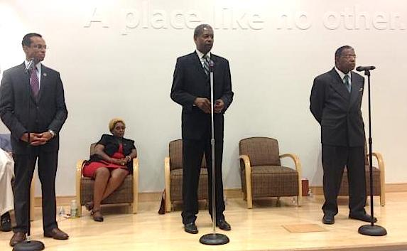 Democrats Shawn Wooden, Sen. Eric Coleman, and Len Walker at a candidate forum in Hartford Thursday night.