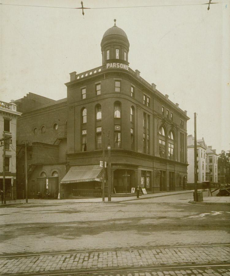 Exterior of the Parsons Theatre circa 1920.