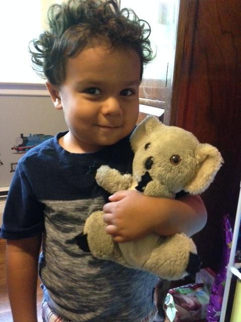 Lucy Nalpathanchil has had this koala since she was a little girl, and she used to put marbles and pebbles inside it. Her son Cormac (pictured) sometimes puts the koala in a diaper.