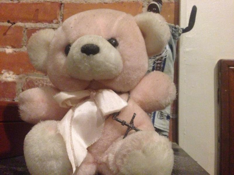 "Benjamin Lovejoy's Pink Bear reminds him of his grandmother, ""Always in the background, always distant, but always right there, just like my Gram Gram."""