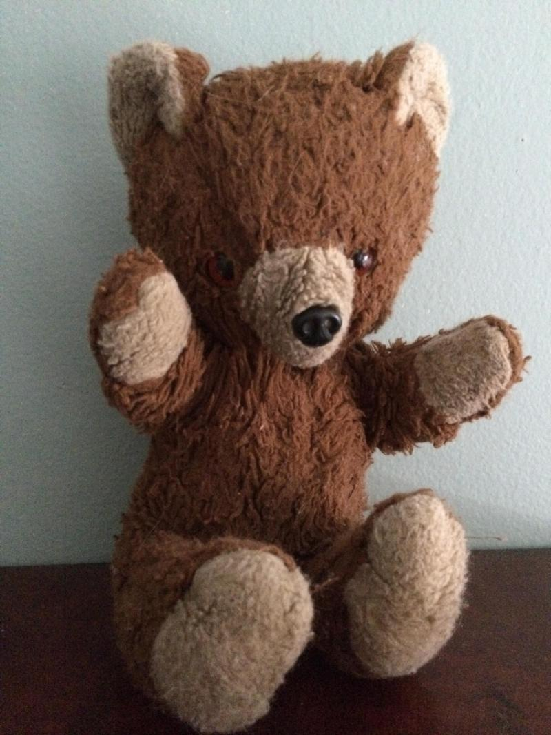 Caroline Dinnegan's Teddy was taken away by Caroline's mom when she decided that Caroline was too old (8) to have a stuffed animal. After much searching, Teddy was found and liberated!