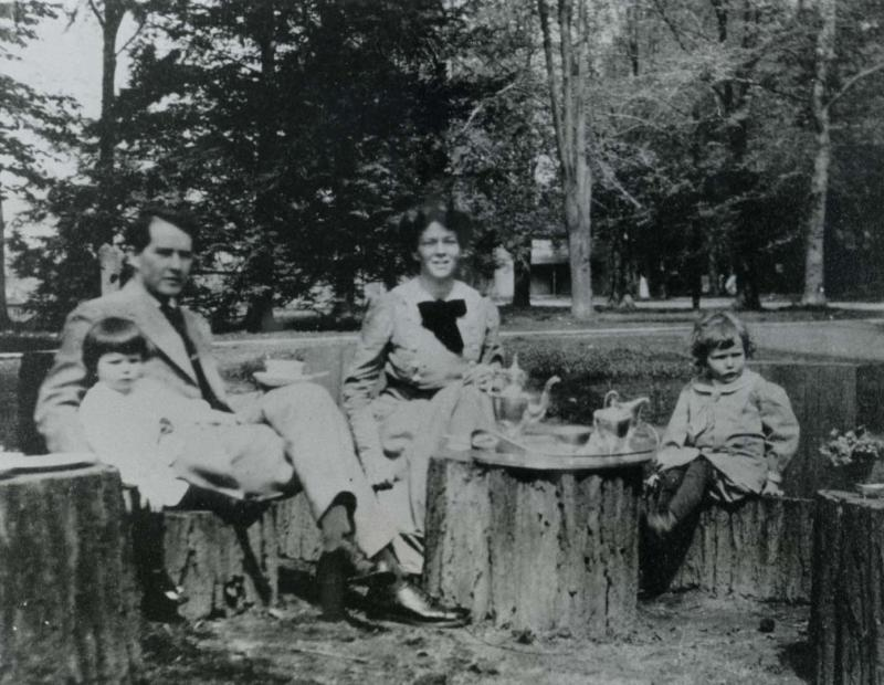 Tea in the yard at 133 Hawthorne Street, Hartford, ca. 1912. Teatime at the Hepburns' was a daily ritual, and the children were encouraged to listen to the conversation.