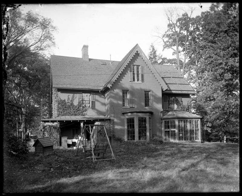 Back view of the Hepburn home at 133 Hawthorne Street, ca. 1920. Mr. Hepburn installed a zip line in the yard for the children's use.