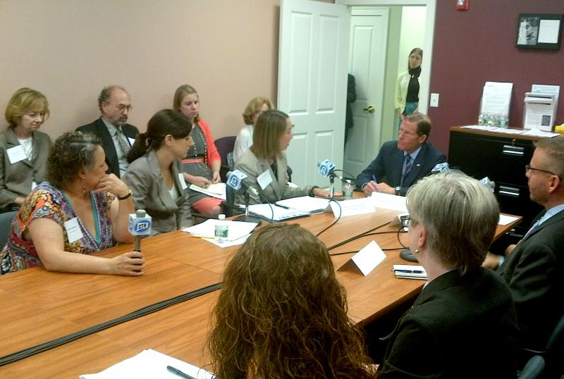 U.S. Senator Richard Blumenthal heard from two dozen child and homeless advocates about the issue of youth homelessness.