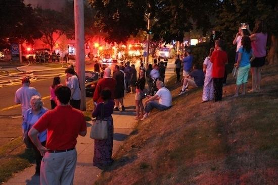 A crowd of onlookers watched as Delaney's burned to the ground on Monday evening.