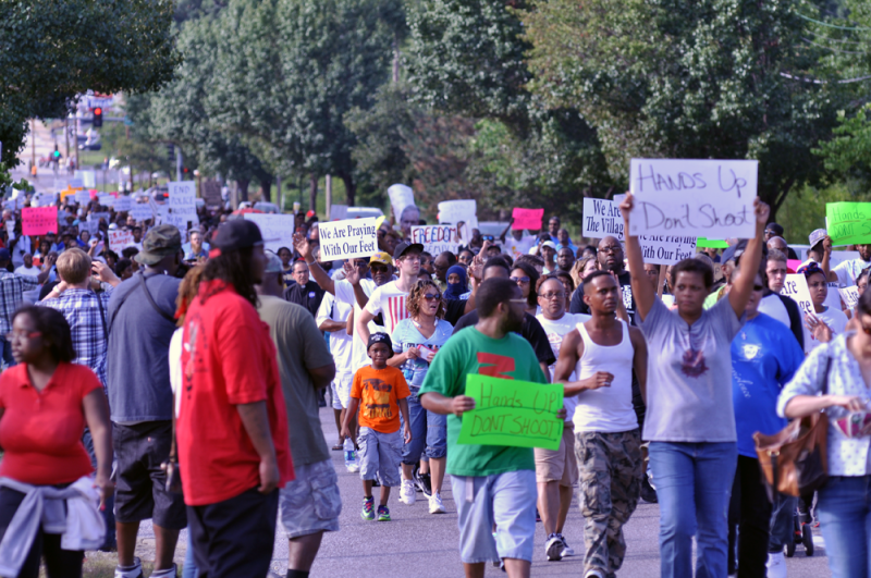 Protests in Ferguson, MO after the fatal shooting of Michael Brown.