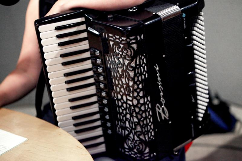 Christina Crowder is an accordion player who specializes in klezmer and other Eastern European styles, and is a member of the Accordion/Violin/Viola trio, Bivolita